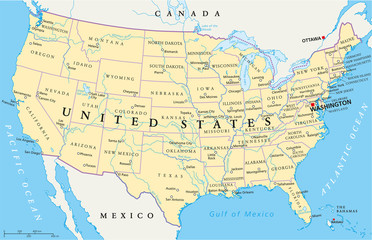 United States of America Political Map with single states
