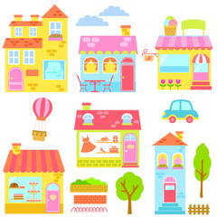 collection of colorful houses, shops and other urban elements