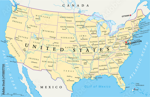 United States of America Political Map with single states - 70887758