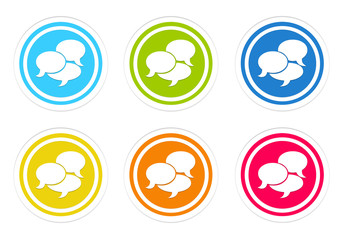 Set of rounded colorful icons with bubble speeches symbol