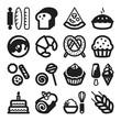 Bakery flat icons. Black