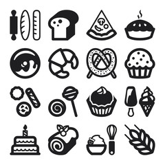 Bakery flat icons. Black