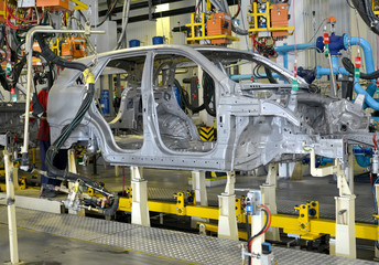 Spot contact welding of bodies of cars at automobile plant