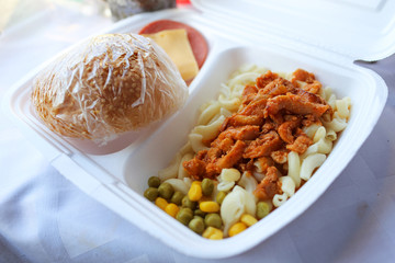 ration of fast food on train