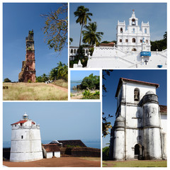 Collage of North and South Goa state popular travel destinations