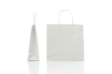 White shopping bag on white background