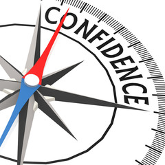 Compass with confidence word