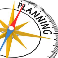 Compass with planning word