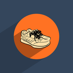 Sneakers shoes flat doodle icon