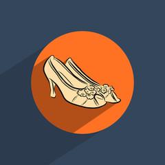 Female shoes flat doodle icon