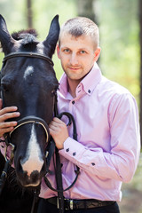 handsome man and horse
