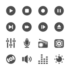 music and multimedia icon set, vector eps10