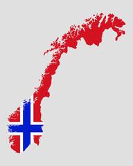 Karte und Fahne von Norwegen