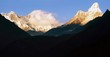 panoramic evening view of Ama Dablam, Everest and Lhotse