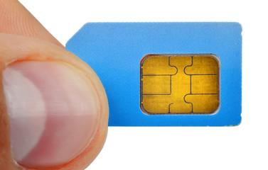 finger holding sim card