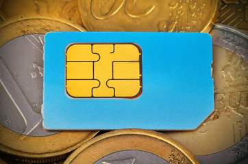 sim card and coins