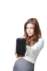 Beautiful woman showing a blank smart phone display