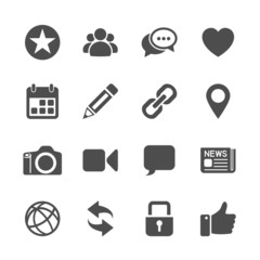 social network communication icon set, vector eps10