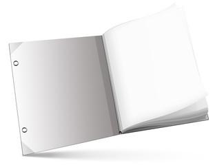 Buch, Notizbuch mit Lupe, ausfüllbar, freigestellt