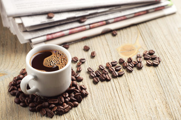 Coffee, newspaper and the word news