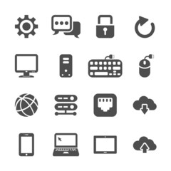 network and computer icon set, vector eps10