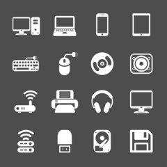 computer hardware icon set, vector eps10