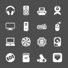 computer pc icon set, vector eps10