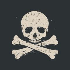 Grunge skull icon.