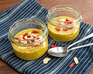 Chia seed puddings with saffron
