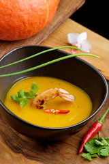 Tom Yum,Thai hot and spicy soup seafood with shrimp and pumpkin