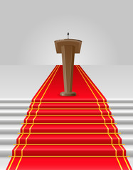 red carpet to tribune vector illustration
