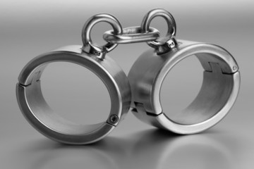Closeup of hard steel handcuffs