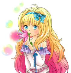 Cute fantasy girl is blowing bubbles from a flower, design in Ja