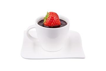 Heiße Schokolade mit Erdbeere