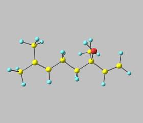 Linalool molecule isolated on grey