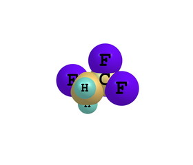 Tetrafluoroethane molecule isolated on white