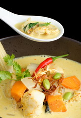 Traditional thai yellow curry with chicken