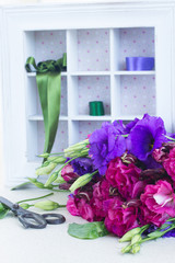 bunch of  purple and mauve  eustoma flowers