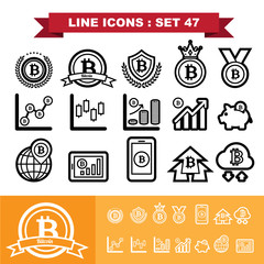 Bitcoin Line icons set 47