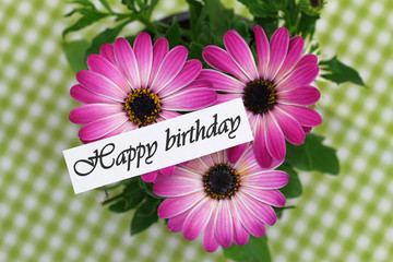 Happy birthday card with pink gerbera daisies