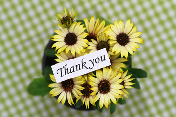 Thank you card with yellow daisies