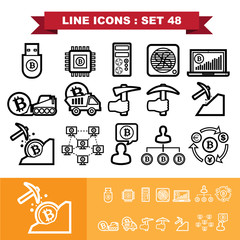Bitcoin Line icons set 48