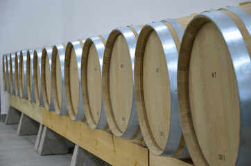 A modern wine cellar with barrels