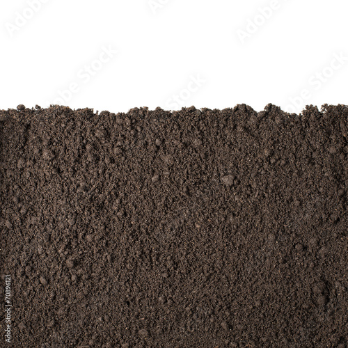 Leinwanddruck Bild Soil section texture isolated on white