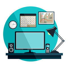 Flat vector illustration with office things