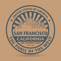 Grunge rubber stamp with name of San Francisco, California