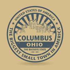 Grunge rubber stamp with name of Columbus, Ohio