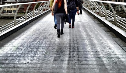 Walking on the bridge