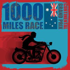 Vintage Motorcycle race label, vector