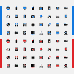 Set icons. Household appliances. Consumer Electronics. Vector.
